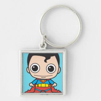 Chibi Superman Silver-Colored Square Key Ring