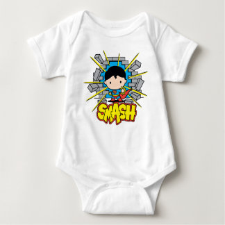 Chibi Superman Smashing Through Brick Wall Baby Bodysuit