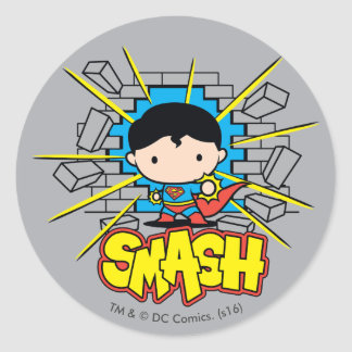 Chibi Superman Smashing Through Brick Wall Classic Round Sticker