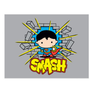 Chibi Superman Smashing Through Brick Wall Postcard