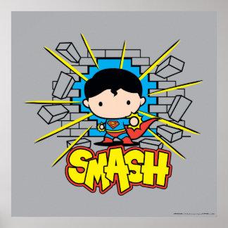 Chibi Superman Smashing Through Brick Wall Poster