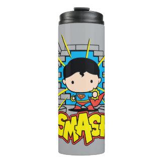 Chibi Superman Smashing Through Brick Wall Thermal Tumbler