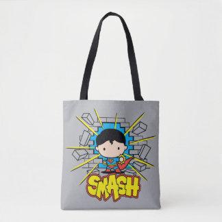 Chibi Superman Smashing Through Brick Wall Tote Bag