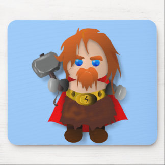 Chibi Thor with Hammer Mousepads