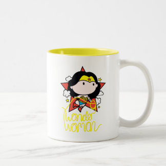 Chibi Wonder Woman Flying With Lasso Two-Tone Coffee Mug