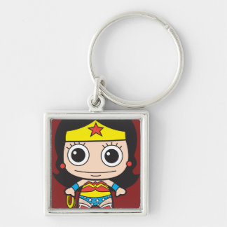 Chibi Wonder Woman Silver-Colored Square Key Ring