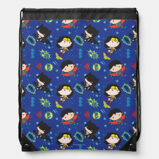 Chibi Wonder Woman, Superman, and Batman Pattern Drawstring Bag