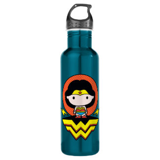 Chibi Wonder Woman With Polka Dots and Logo 710 Ml Water Bottle