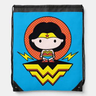 Chibi Wonder Woman With Polka Dots and Logo Drawstring Bag