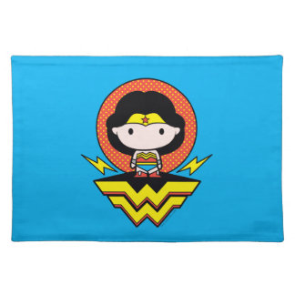 Chibi Wonder Woman With Polka Dots and Logo Placemat