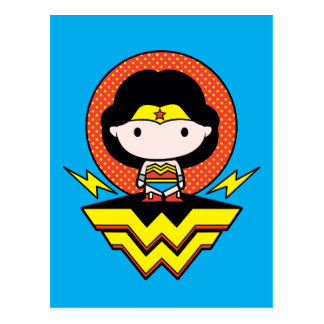 Chibi Wonder Woman With Polka Dots and Logo Postcard