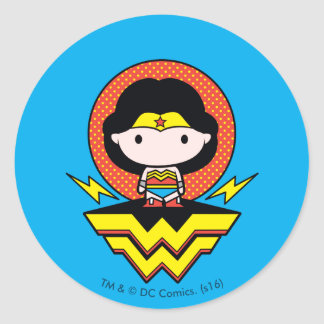 Chibi Wonder Woman With Polka Dots and Logo Round Sticker
