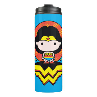 Chibi Wonder Woman With Polka Dots and Logo Thermal Tumbler