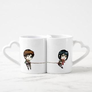Chibinime - Lover mugs cute couple catching love Lovers Mug Set