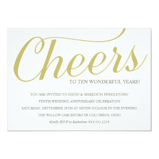 Chic 10th Wedding Anniversary Party Invitation