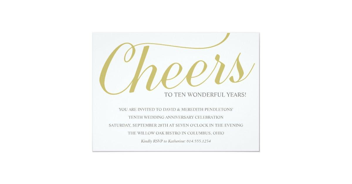 10th Wedding Anniversary Invitations: Chic 10th Wedding Anniversary Party Invitation