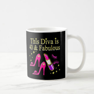 CHIC 40 AND FABULOUS FASHION QUEEN DESIGN COFFEE MUG
