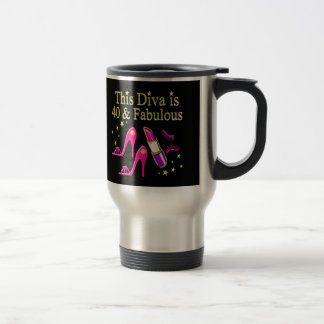 CHIC 40 AND FABULOUS FASHION QUEEN DESIGN TRAVEL MUG