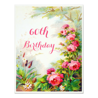 Chic 60th Birthday Victorian Roses Cottage Garden Card