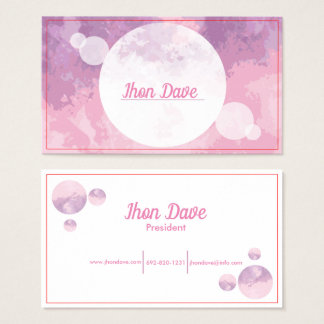 Chic Abstract Pink Purple Watercolor Business Card