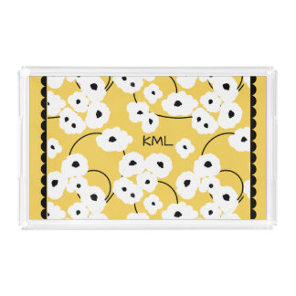 CHIC ACRYLIC TRAY_MOD FLORAL WHITE & BLACK POPPIES ACRYLIC TRAY