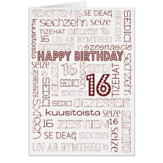 Chic Age-specific 16th Birthday in many Languages Card