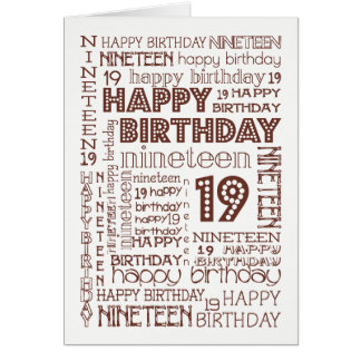 Chic Age-specific 19th Birthday Card to Personalis
