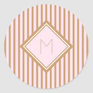 Chic and Glam Pink and Gold Stripes Monogram Round Sticker