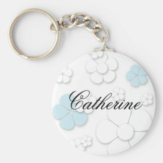 Chic and Simple Flowers: Blue Key Ring