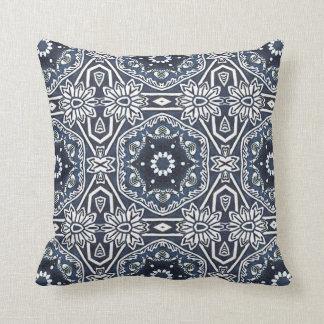 Chic Antique Dutch Delfts Blue Floral Pattern Cushion