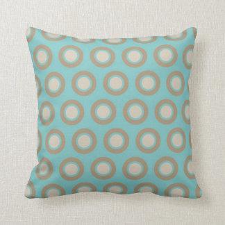 Chic Aqua and Cream Circles Cushion