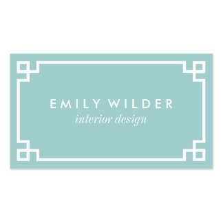 Chic Aqua and White Greek Key Pack Of Standard Business Cards