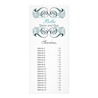 chic aqua , black and white Services rack card