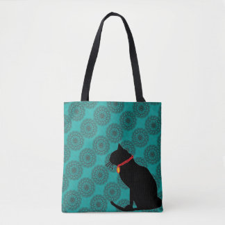 Chic aqua black cat bag for beach or shopping
