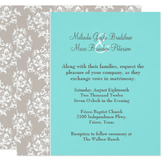 Chic Aqua Blue and Taupe Damask Wedding Invitation