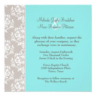 Chic Aqua Blue and Taupe Damask Wedding Invitation