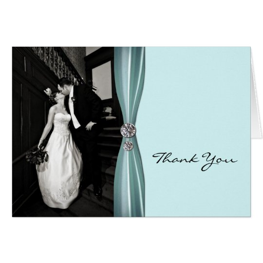 Chic Aqua Custom Photo Thank You Card