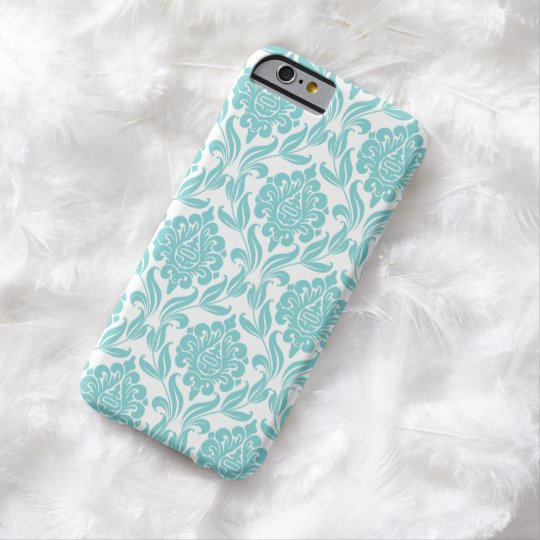 Chic Aqua Damask Pattern Barely There iPhone 6 Case