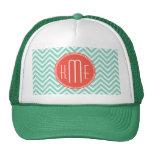 Chic Aqua Green Chevron and Orange Custom Monogram Cap