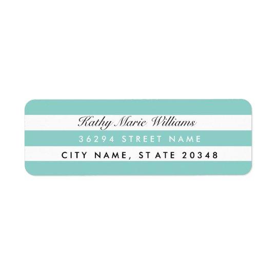 Chic Aqua Striped Address Labels