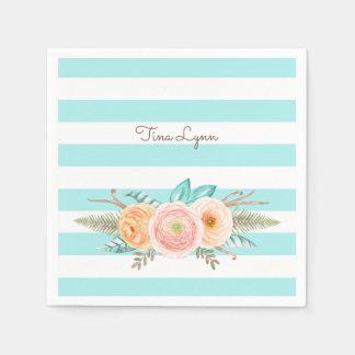 Chic Aqua Stripes Feminine Floral and Name Paper Serviettes