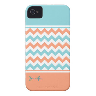 Chic Aquamarine & Coral iPhone 4 Case