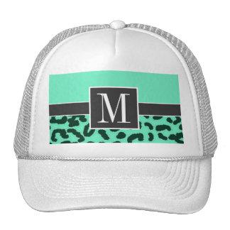 Chic Aquamarine Leopard Animal Print Trucker Hats