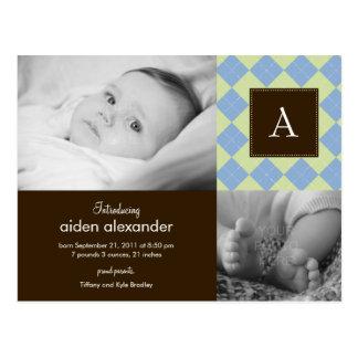 Chic Argyle Baby Boy Birth Announcement Post Card