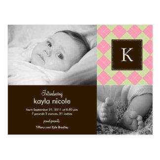 Chic Argyle Baby Girl Birth Announcement Postcard