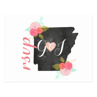 Chic Arkansas State Watercolor Floral Wedding RSVP Postcard