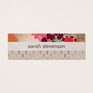 Chic Artistic Colorful Floral Gold Stripe Pattern Mini Business Card