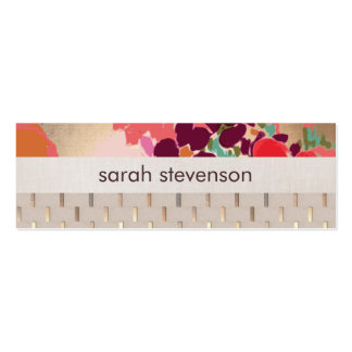 Chic Artistic Colorful Floral Gold Stripe Pattern Pack Of Skinny Business Cards