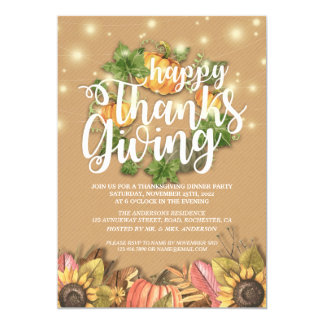 Chic Autumn Maple Leaves Thanksgiving Dinner Party Card