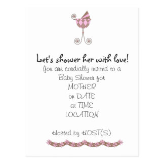 Chic Baby Coach Baby Shower Invitation Postcard